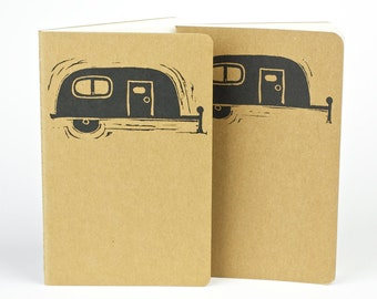 Cozy Camper printed on a pocket size travel journal. Small journal with inner pocket. Art covered Stationery. Notebook. Camping Journal