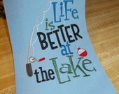 Embroidered Towel - Kitchen Towel - Funny Kitchen Towel – Lake Kitchen Towel –  Gift for dad – Kitchen Décor -  Fishing Kitchen Towel