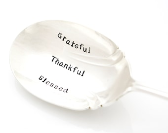Grateful, Thankful, Blessed hand stamped casserole server. Large serving spoon for Thanksgiving table setting, hostess gift.