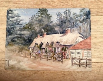 1950s Painting a Cottage Original Art Watercolor Home Decor Wall Hanging