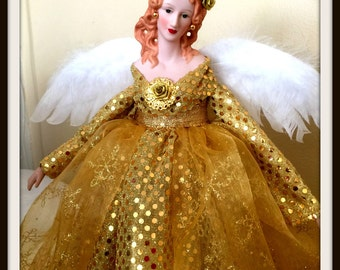 Christmas Angel Tree Topper Gold Gown Porcelain Angel Treetop