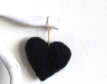 Needle felted Black heart - Valentines ornament - Wool felt heart