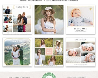 Sneak Peek Social Media Templates: Instagram, Facebook, Blog Boards, Website, Collage- Set 1 - MKSP01