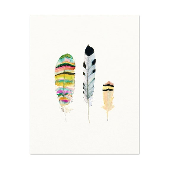 Feathers - Archival Print - Watercolor Feathers - Nature Art