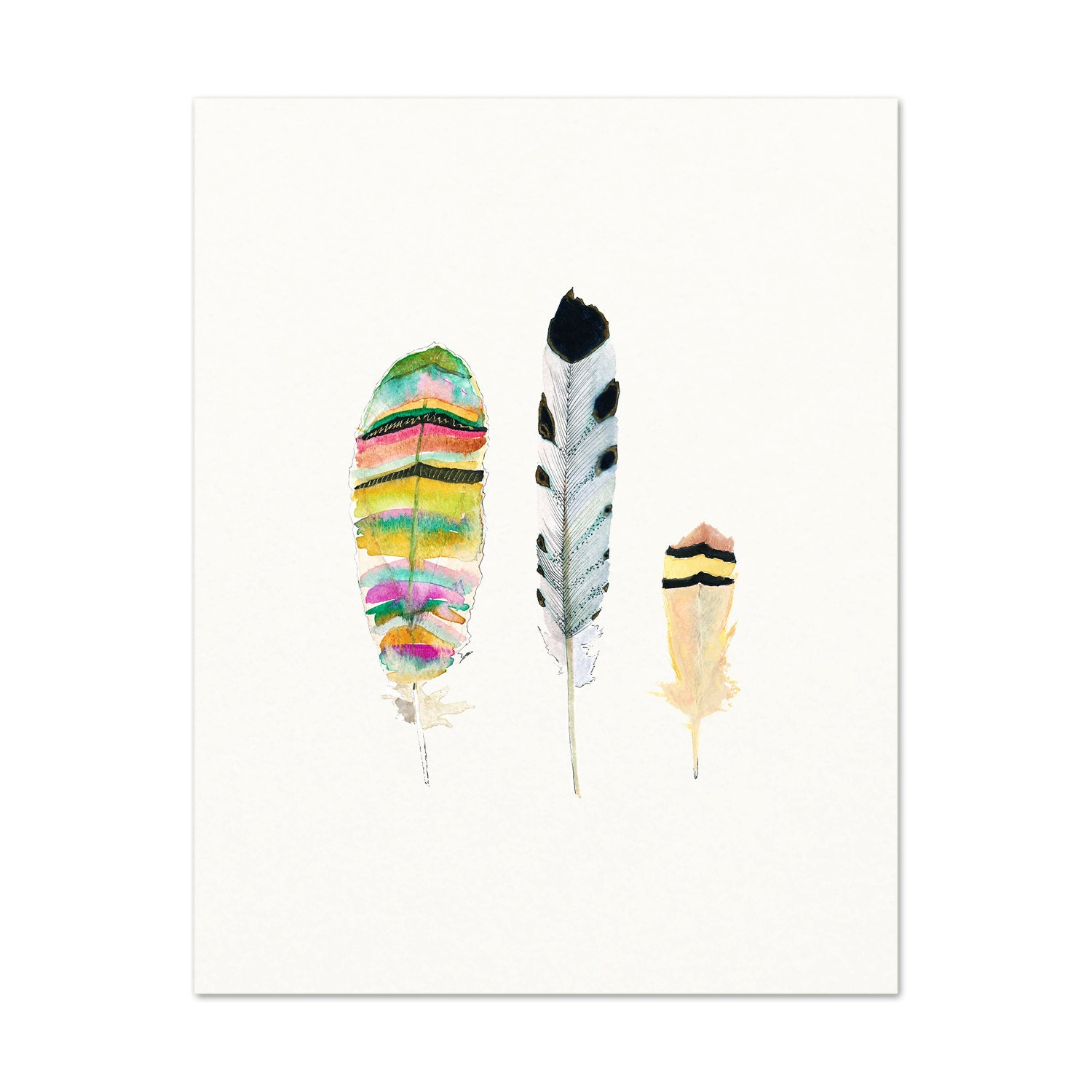 Tribal Watercolor Feather Art Print. Colorful Feather
