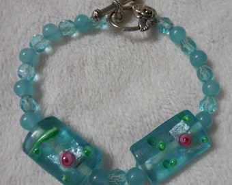 Vintage Aqua Beads, Aquamarine Beads and Lampwork Beads Beaded Bracelet w/Rose