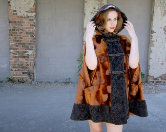 Copper faux-fur cape, hood, dark brown hooded cloak, 1960s