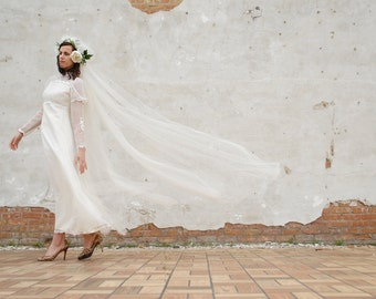 Vintage extra long wedding veil, white flower halo headpiece, cathedral bridal tulle, boho 1960s SALE