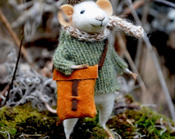 Traveler Little Mouse- The Forest Collection - Needle Felted Doll Rustles from the Meadow