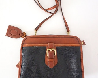 Vintage Leather Cross Body Purse Handbag Black and Tan