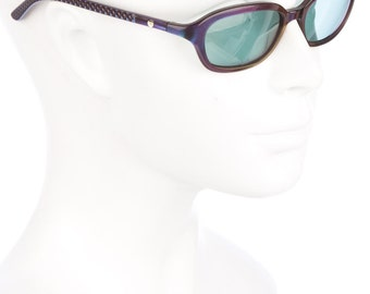 90s CHANEL Holographic Metallic Purple ZOOLANDER Duo-Tone Rectangular Vintage Sunglasses w/ Tinted Blue Lenses