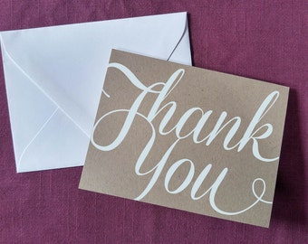 SALE! Set of 25 White Ink on Kraft Paper Thank You Cards