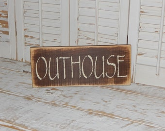 Primitive Bathroom Sign Country Home Decor Outhouse Sign
