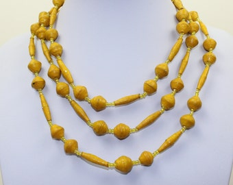 Yellow Orange Necklace Paper Mache Necklace Extra Long Lariat. Papier Mache Beads Ethnic Style. Paper Beads. Paper Marche PS003. MapenziGems
