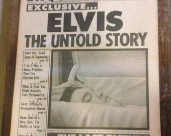 3 Pieces Vintage Elvis National Enquirer 1977 - 1978 The Last Picture Untold Story Drugs Anniversary