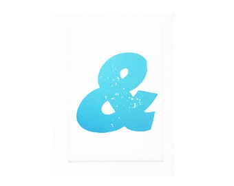 Ampersand (and) & TYPOGRAPHY ART PRINT Light Blue