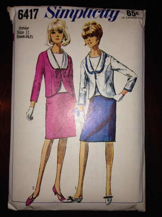 Simplicity 6417 Sewing Pattern 60s Teens and Juniors Suit and Over Blouse Size 11