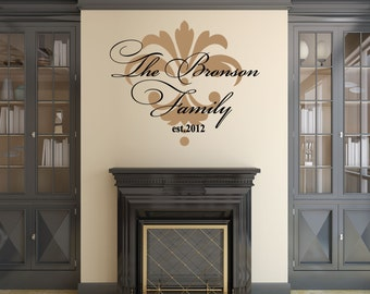 Family Wall Decal, Family Established Wall Decal, Personalized Family Wall Decal, Family Name Decal, Monogram Established - WD0123