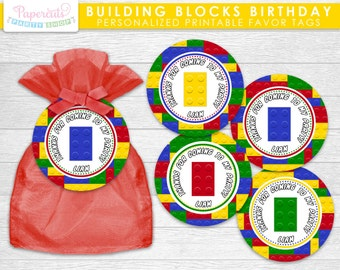 Building Blocks Theme Birthday Party Favor Tags | Yellow Red Blue & Green | Personalized | Printable DIY Digital File