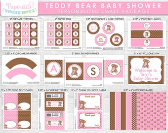 Teddy Bear Theme SMALL Baby Shower Party Package | Pink & Brown | It's a Girl | Personalized | Printable DIY Digital Files