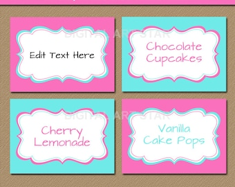 Editable Pink & Turquoise Food Labels - Printable Candy Buffet Label Template - Pink and Turquoise Food Tags - Tent Cards - Instant Download