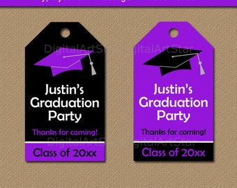Graduation Party Favor Tags, Graduation Tags, High School Graduation Favor Tags, Printable Tags, Class of 2017 Tag Download Purple Black G1