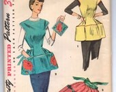 "1950's Simplicity Full and Half Apron and Flower transfer Pattern - Bust 34-36"" - No. 4492"