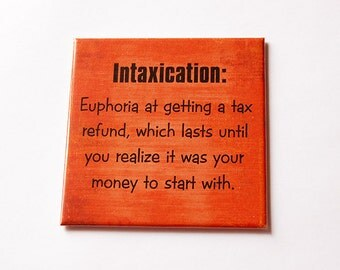 Tax Refund Magnet, Funny Magnet, Tax Magnet, Intaxication, Fridge magnet, Large Square Magnet, Orange, Humor, Tax Accountant gift (5656)