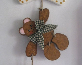Seasonal Bear, welcome bear, bear, handpainted, holidays, wood, wall hanging, wall decor,