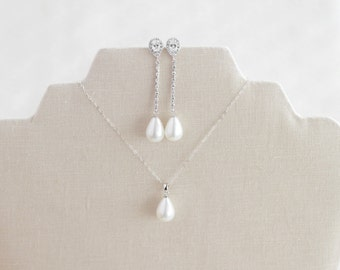 Teardrop Pearl Jewelry Set, Bridal Jewelry Set, Long Earrings, CZ & Pearl Necklace, Wedding Jewelry, Mother Of The Bride, Gift for Her
