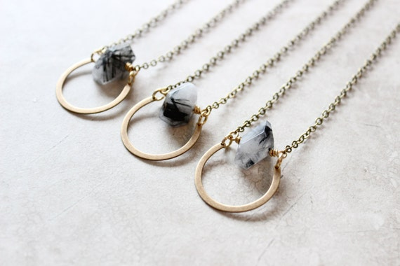 SALE 20% OFF - Quartz + Brass Necklace, Crescent Necklace, Modern Geometric Necklace, Gemstone Necklace