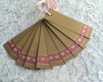 Gift Tags with Hearts, Bridal Shower Favor Label, Narrow Kraft Tag with Pink Washi Tape
