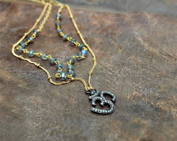 Pave Diamond Ohm,  Necklace. Layered Rosary Pyrite and Gold Fill or Sterling Silver. Om, Aum Jewelry. Boho Luxe NML-1604