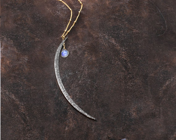 Pave Diamond Necklace. Moonstone Necklace. Crescent Moon. Birthstone Options. Moon Goddess.  NL-1837