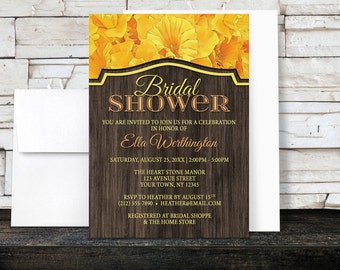 Daffodil Wood Bridal Shower Invitations - Yellow Floral design with Rustic Brown Wood - Printed Invitations