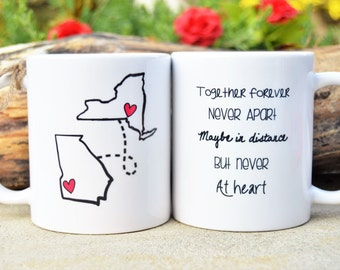 STATE to STATE Long Distance Mug - 2 States - Together Forever, Never Apart, Maybe in Distance but Never at Heart