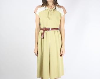 70s Dress, Vintage day dress Summer dress Butterscotch Caramel Sport Luxe Belted midi dress, XS Small