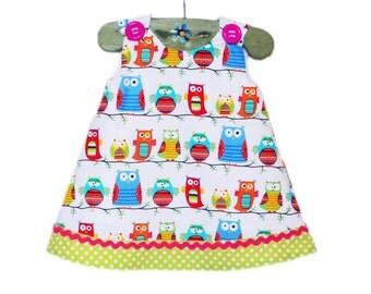 Happy Owls - Green - Toddler Dress - Funny Owls -  Designer Fabric - Birthday Party - Gift - Owls Dress - Etsy Kids - KK Children Designs