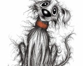 Hello Jack Print A4 size picture image Happy friendly pet pooch dog doggie mutt hound wearing collar Ink drawing sketch printed on paper