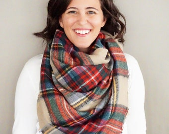 Red, Green, and Khaki Plaid Comfy Blanket Scarf