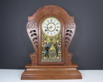 Antique Wooden Mantle Clock // Large Decorative Ornate Carved Wood Tabletop Clock Late 1800's Floral Glass Door Pendulum Clock Rustic Decor