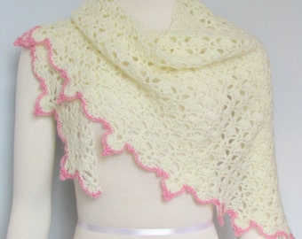Crocheted Shawlette Cream and Pink Mohair lace shawl handmade