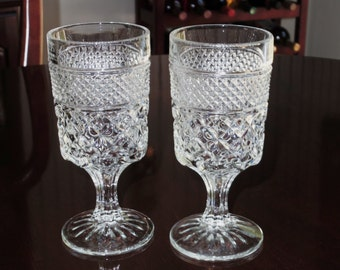 """2 ANCHOR HOCKING WEXFORD Large 8 Oz Pressed Crystal Water or Wine Goblets Criss Cross Glasses Stems 6 5/8"""" High Pair Two Excellent Condition"""