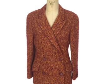 vintage 1980's KRIZIA mohair jacket / Mirrors of Krizia / double jacket / autumn colors / women's vintage jacket / tag size 44