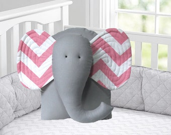 pink elephant pillow, pink and white chevron, pink and gray nursery decor, pink animal pillow by whimsysweetwhimsy
