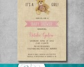 Teddy Bear Baby Shower Invitation - Vintage Inspired - It's a Girl - Pink - Brown - Burlap - Printable - Customizable - Digital - DIY