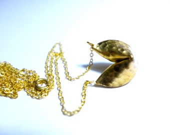 Fortune cookies pendant. Brass necklace, Modern Jewelry. gold. good luck