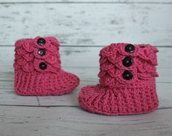 Pink Baby Slippers, Crochet Crocodile Baby Slipper Booties, Made To Order