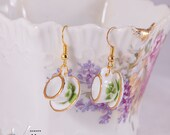 Cute earrings with small teacups, gold rim and clovers, miniature porcelain, fashion dangle earrings, gold plated, miniature tea cups