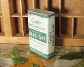 Curity Handi-Tape Adhesive Bandages Vintage First Aid Hinged Lid Tin in Green & White